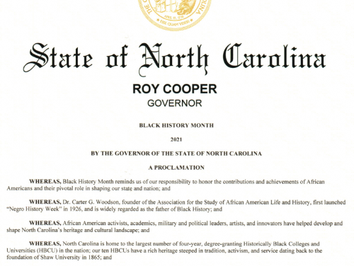snapshot of NC Black History Month proclamation