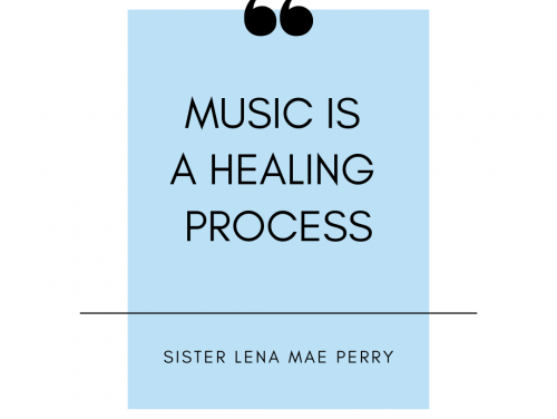 """A graphic depicting """"Music is a Healing Process"""""""