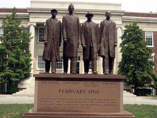 Image of the February One statue depicting the Greensboro Four