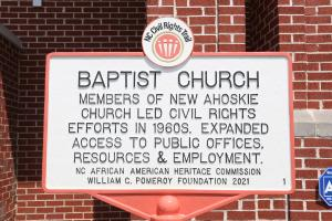 Image depicting the trail marker at New Ahoskie Baptist Church