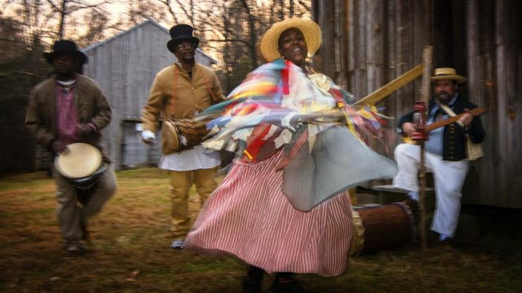 African American musicians and dancer perform at historic site