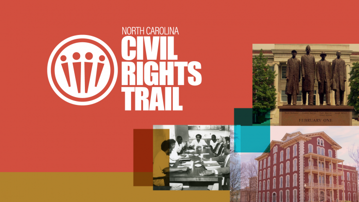 Civil Rights trail logo and historic images in a collage