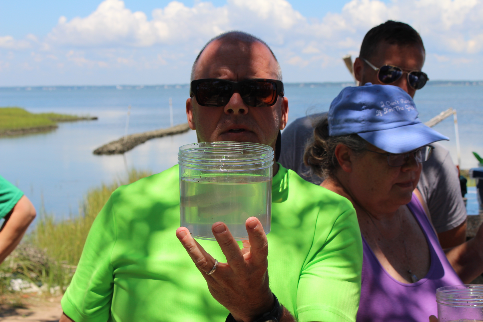 teacher looking at a fish