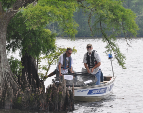 citizen scientists monitoring in a boat