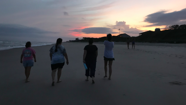 people walking on the beach
