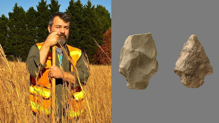 Archaeologist in a field with shovel and reflective vest; 2 projectile points