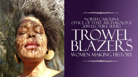 On left: woman under tree, moss, eyes closed. On Right: Title - NC OSA Lecture series - Trowel Blazers