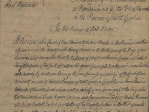 Cropped version of a record from the Vice Admiralty Court, 1770