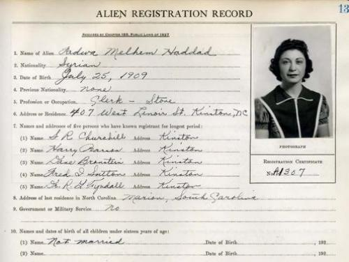 Lenoir County Alien Registration Record for Fadwa Melhem Haddad