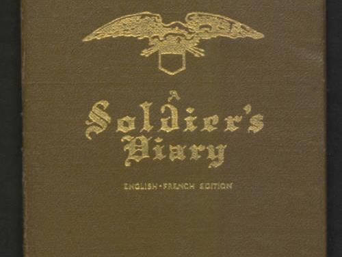 """scanned image of a brown diary cover which says """"soldier's diary"""" in fancy gold letters"""