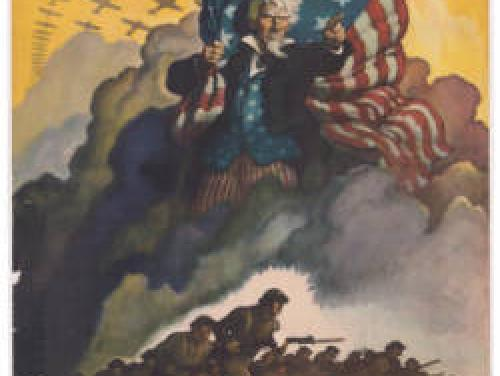 colorful poster of Uncle Sam holding an American flag over a field of soldiers running into battle