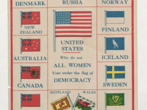 """a colorful poster of flags from around the world that reads """"why do not all women vote under the flag of democracy"""""""