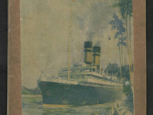old fashioned color poster of a boat