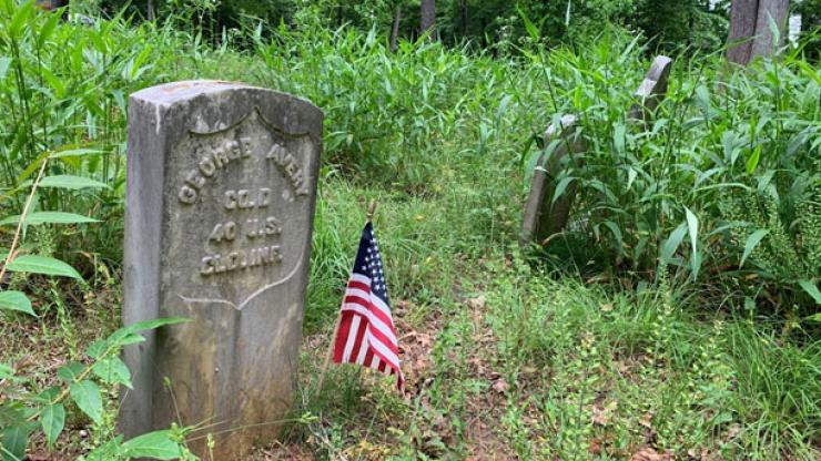 Tombstone in an Asheville cemetary with a small American flag in the ground beside it