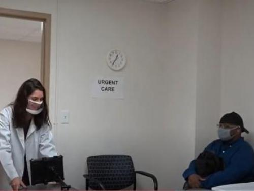 image of clear mask use at urgent care