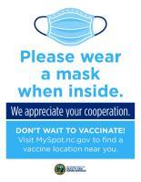 Please wear a mask when inside - business flyer