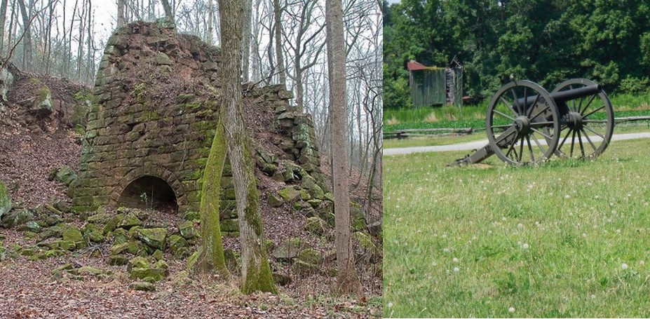 Endor Iron Furnace (left) and Civil War Cannon (right)