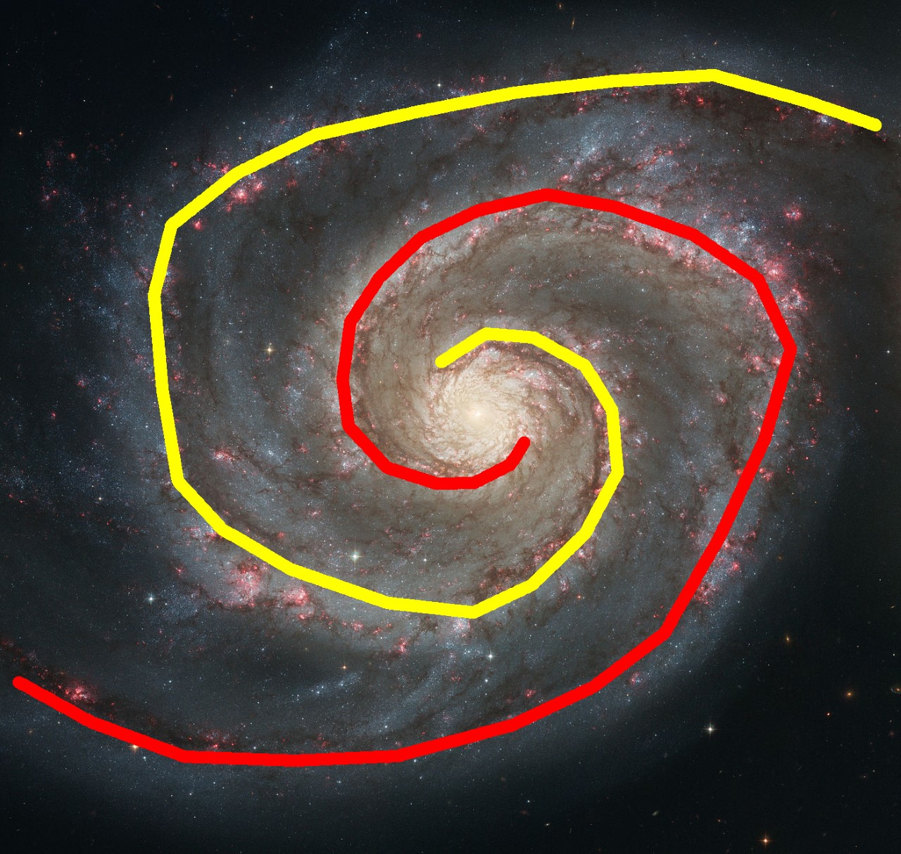 image of a spiral galaxy with tracing lines