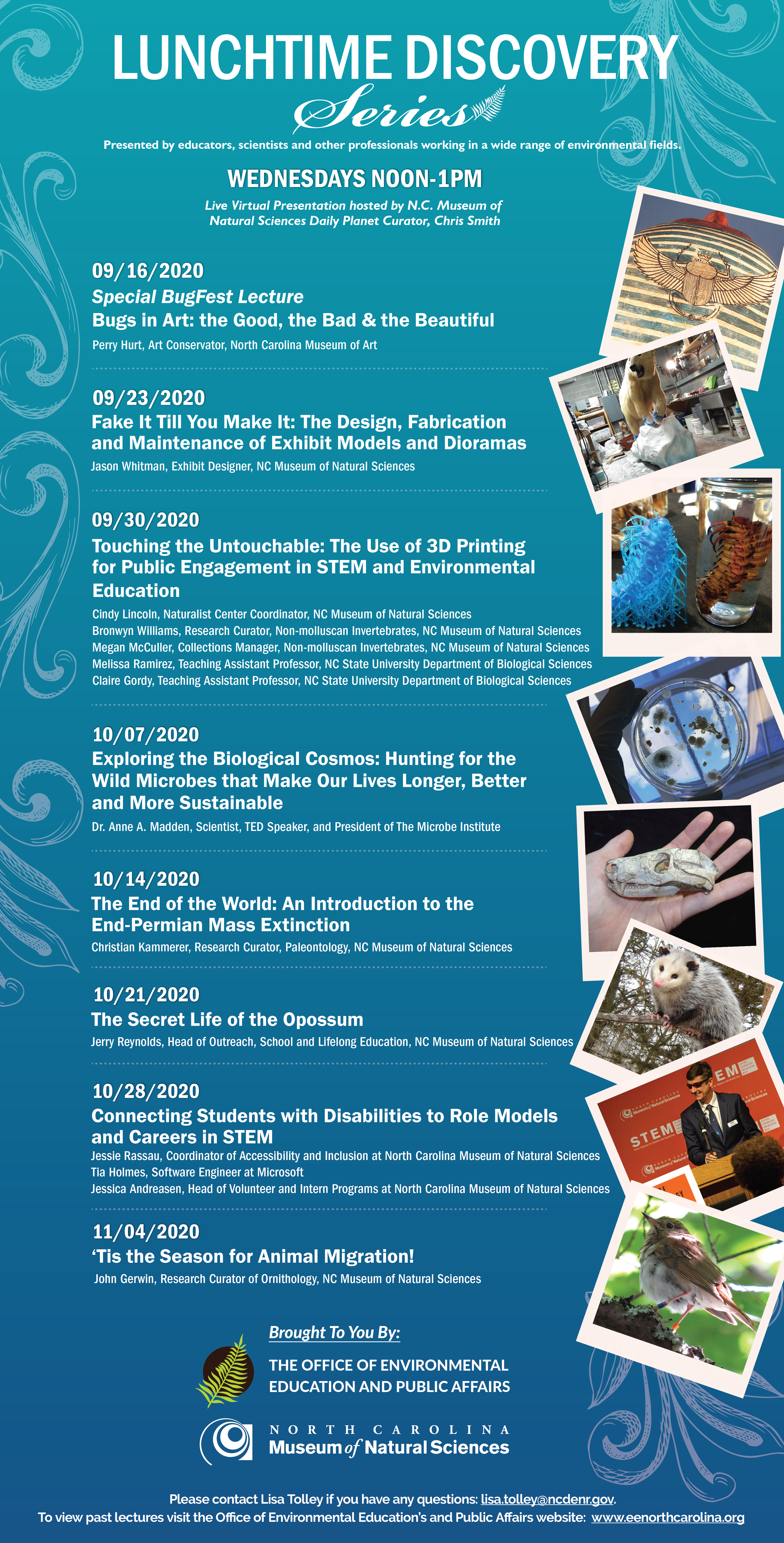 poster promoting the lunchtime lecture series