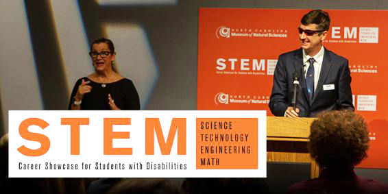photo of Ed Summers of SAS Institute talking at the podium during the STEM Showcase