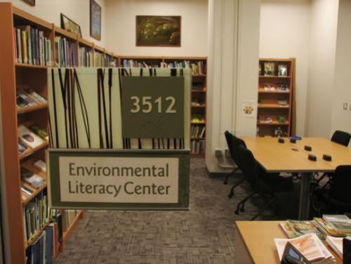 Environmental Literacy Center filled with shelved books
