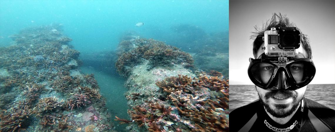 photo of zack harrison in scuba gear and photo of artificial reef underwater