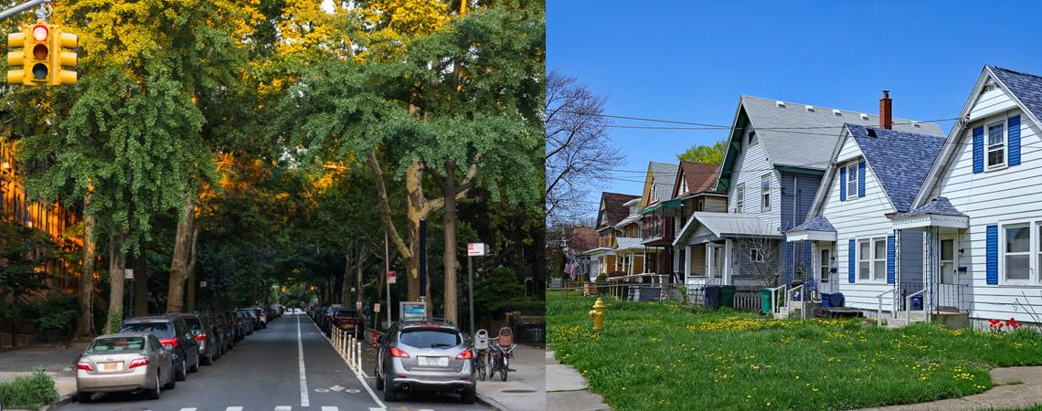 photo on the left of a lush tree lined street and photo on the left of a neighborhood street with almost no trees
