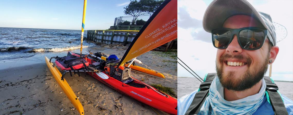 Will's kayak on the left and our speaker, Will Freund on left