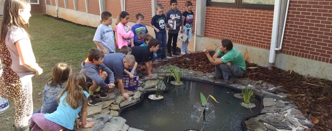 small constructed pond surrounded by young children and remale educator