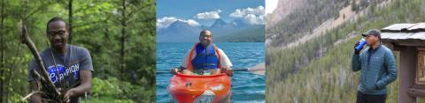 photos of our speaker Diquan Edmonds in mountains and in a kayak
