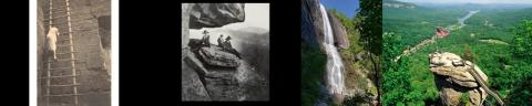 four photos of chimney rock