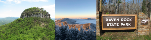 three photos: pilot mountain, mount mitchell in snow and the sign for raven rock state park