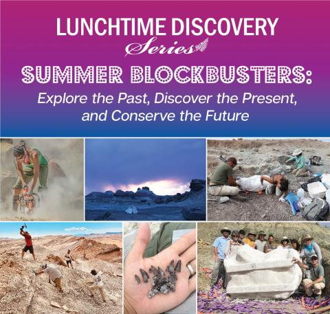 collage of photos advertising the August 4 talk from a dinosaur dig