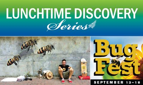 A graphic that includes a photo of Matt Willey in front of his bee mural at the NC Museum of Natural Sciences