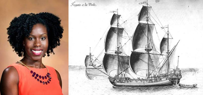 Head shot of Angela and photo of a historic ship that could look like Queen Anne's Revenge