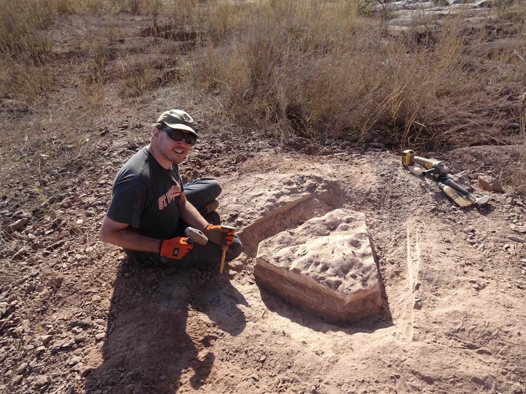 Dr. Christian F. Kammerer on a fossil dig