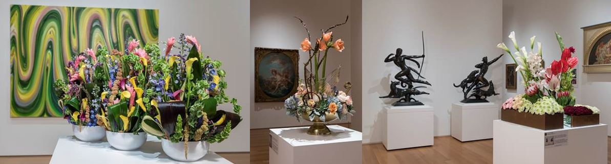 flower arrangements in art museum