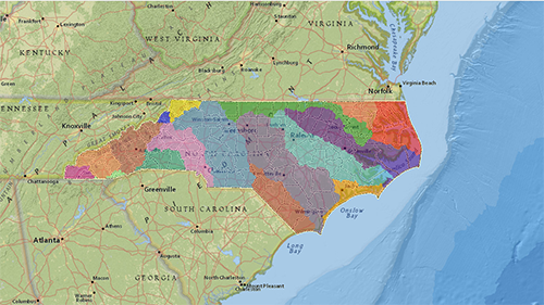 colorful map of North Carolina's 17 river basins