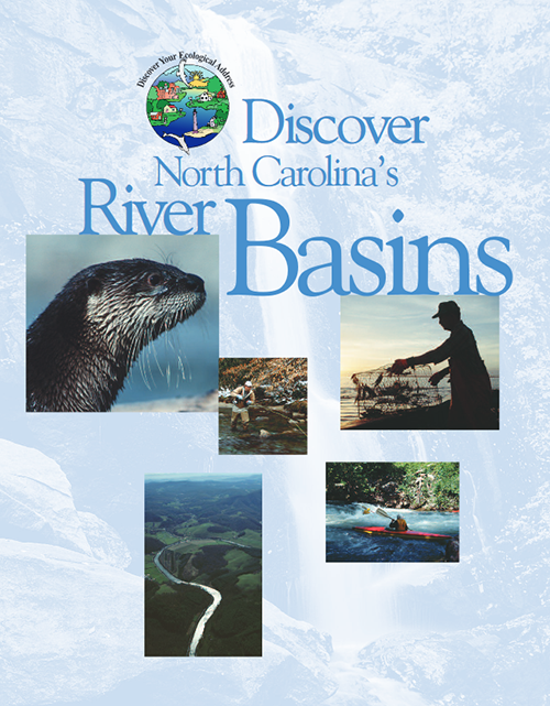 cover of river basin booklet showing an otter, river scenes and a fisherman