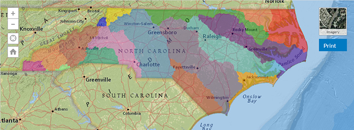 color-coded map of North Carolina river basins
