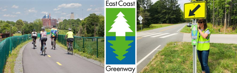 bikers on greenway and sarah sanford mounting greenway sign