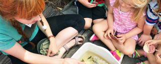 educator sitting on dock with a group of children looking in a white tub at macroinvertebrates