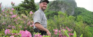 State Parks ranger stands among blooming azaleas in front of Grandfather Mountain