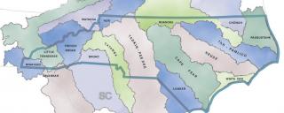 map of North Carolina's 17 river basins