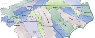 map of North Carolina's 17 river basins