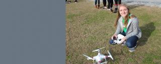 photo of educator with a drone