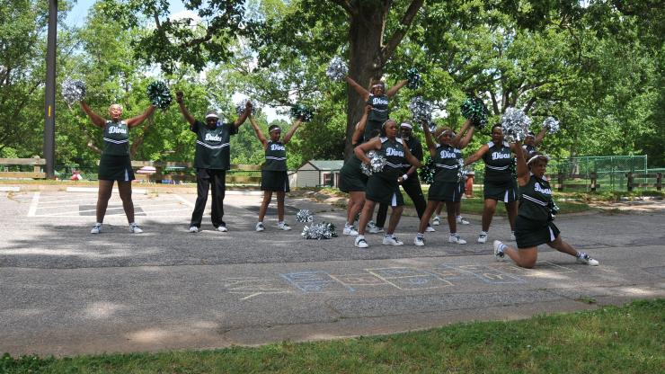 The Durham Senior Divas and Dudes perform during a First Friday event celebrating Older Americans Month.