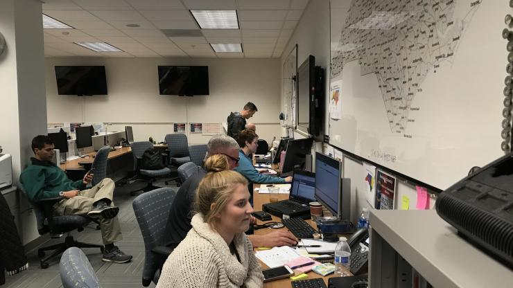Office of Emergency Medical Services team members support emergency response operations during the Ebola Outbreak Preparedness Exercise on Nov. 7, 2019. Credit: Kelly Haight Connor