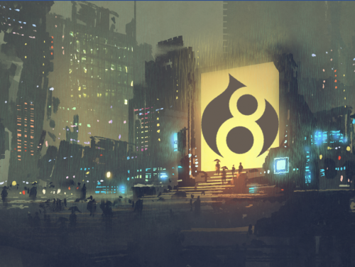 An illustration shows the Drupal 8 logo projected on a city building at night.