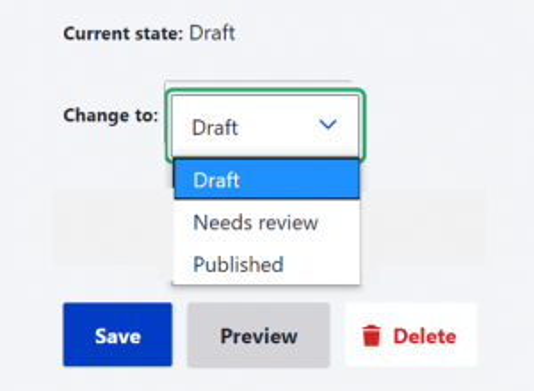 Screenshot of page save options